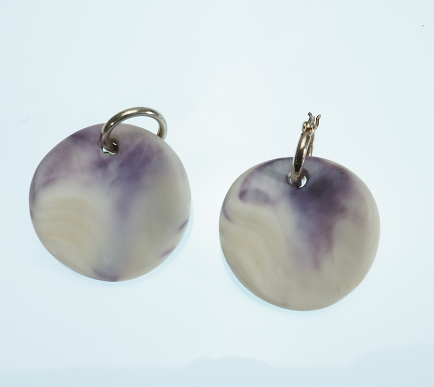 Native American Round Wampum Earrings Wampanoag Artist Elizabeth James-Perry