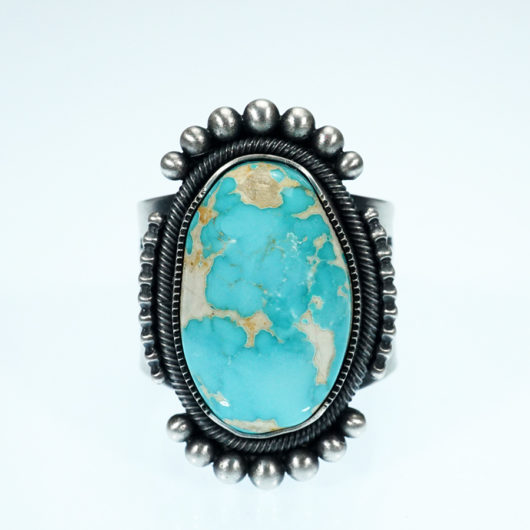 Jacob D. Morgan Sterling Silver Ring with Royston Turquoise Native American Jewelry