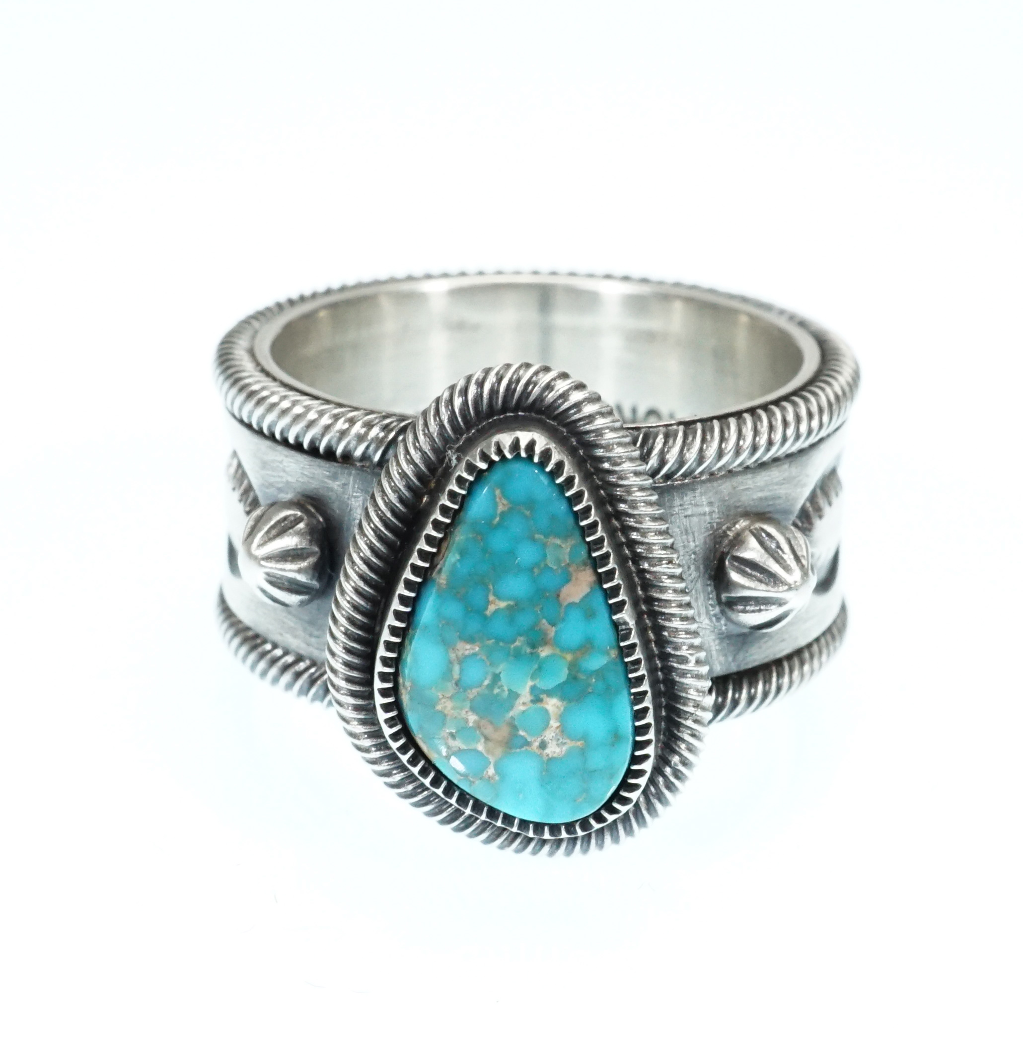 Navajo Artist Jacob D. Morgan Sterling Silver Ring with Candelaria Turquoise