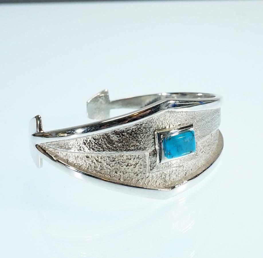 Lance Plummer Tufa Cast Bracelet with Sleeping Beauty Turquoise Native American Jewelry