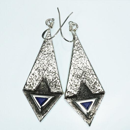 Tufa Cast Earrings with Lapis Lazuli Navajo Artist Lance Plummer