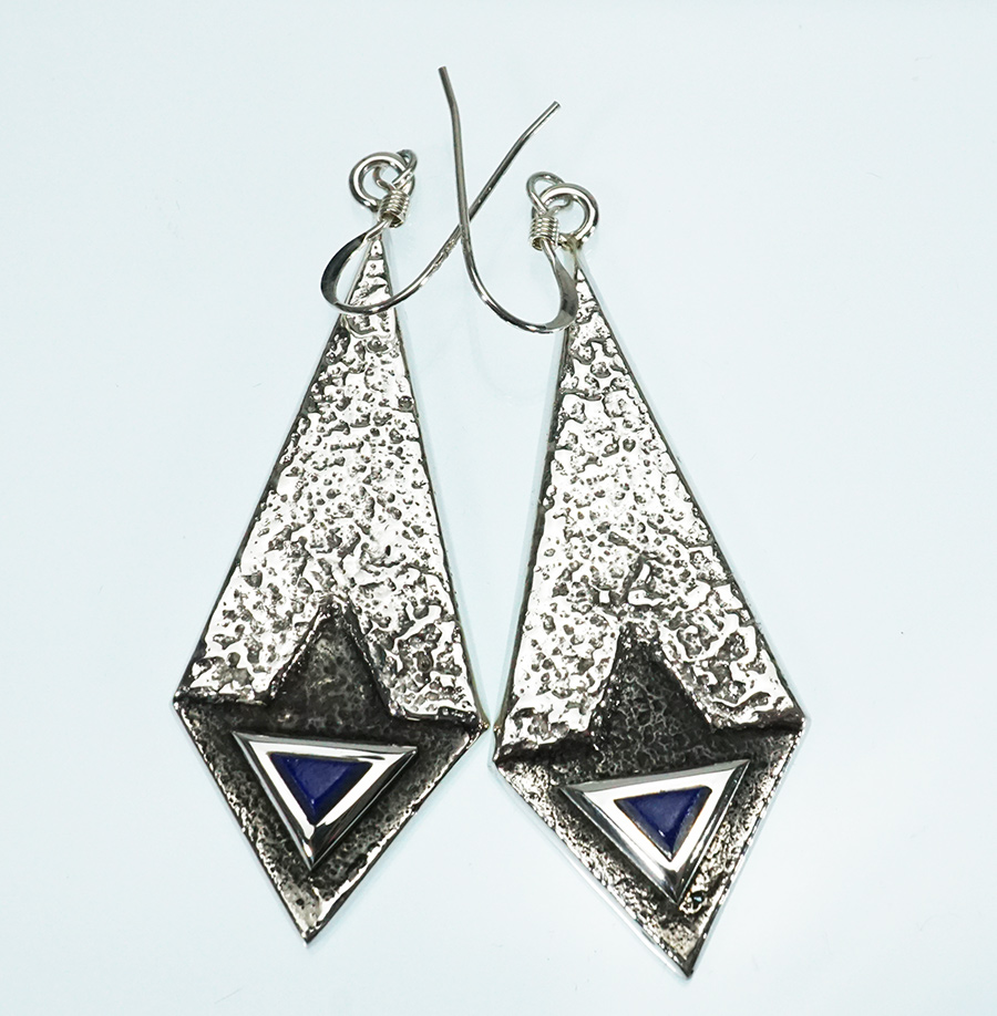 Tufa Cast Earrings with Lapis Lazuli Navajo Artist Lance Plummer