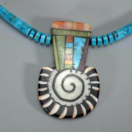Mary Tafoya Santo Domingo Mosaic Necklace with Turquoise Beads