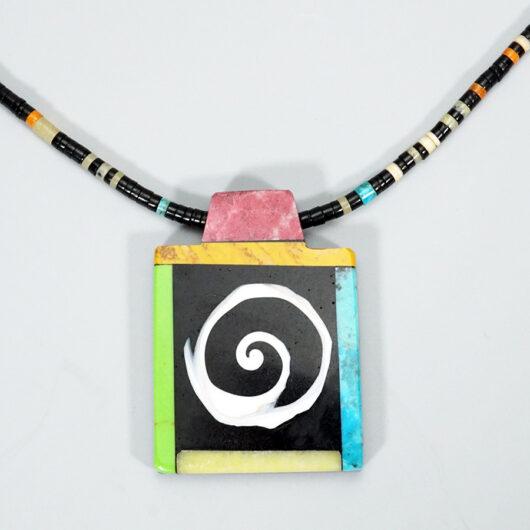 Mary Tafoya Santo Domingo Pueblo Swirl Necklace