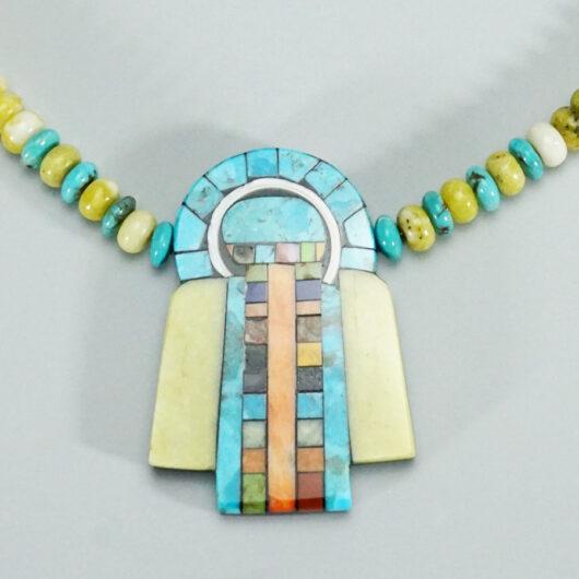 Mary Tafoya Native American Jewelry Mosaic Angel Necklace