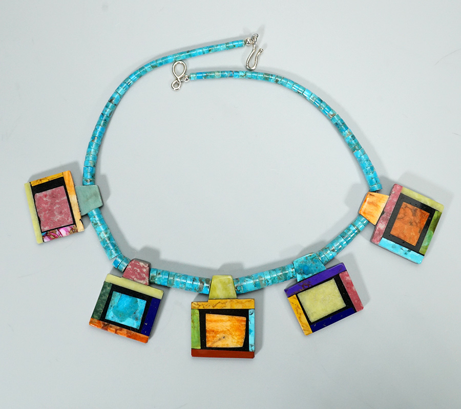 Native American Jewelry Santo Domingo Artist Mary Tafoya Memory Necklace