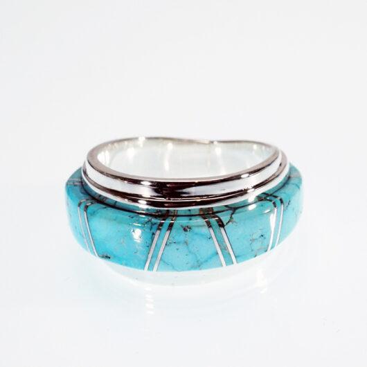 Kingman Turquoise Inlay Ring Navajo Artist Earl Plummer
