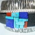 Navajo jewelry Artist Alvin Yellowhorse double inlay bracelet SWJ01902-8 - Copy