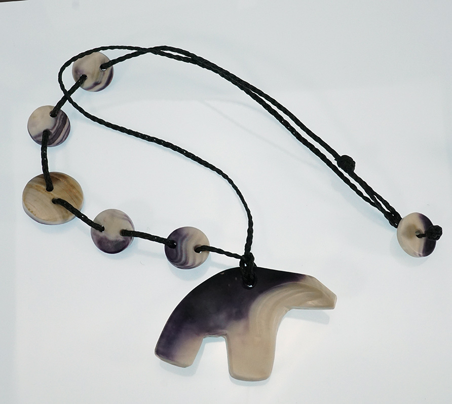 Native American Jewelry Carved Wampum Bear Necklace Artist Elizabeth James-Perry