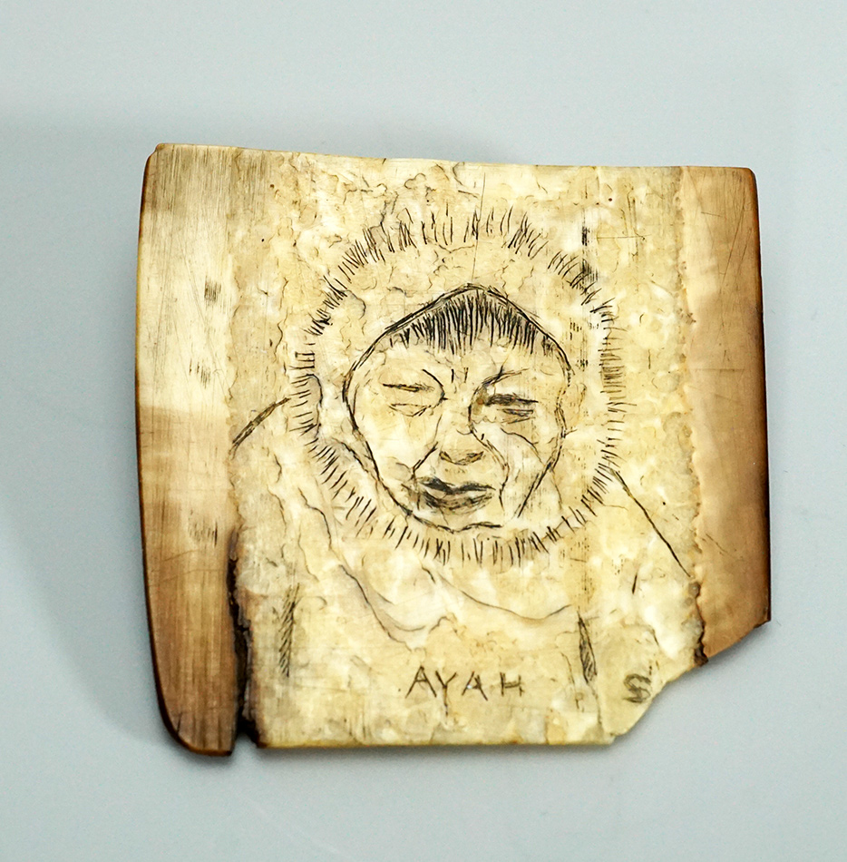 Antique Eskimo Ivory Scrimshaw Figure