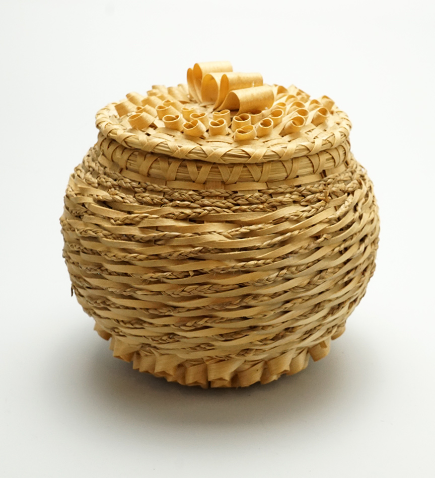Clara Keezer Passamaquoddy Basket Natural Ash Braided Sweetgrass
