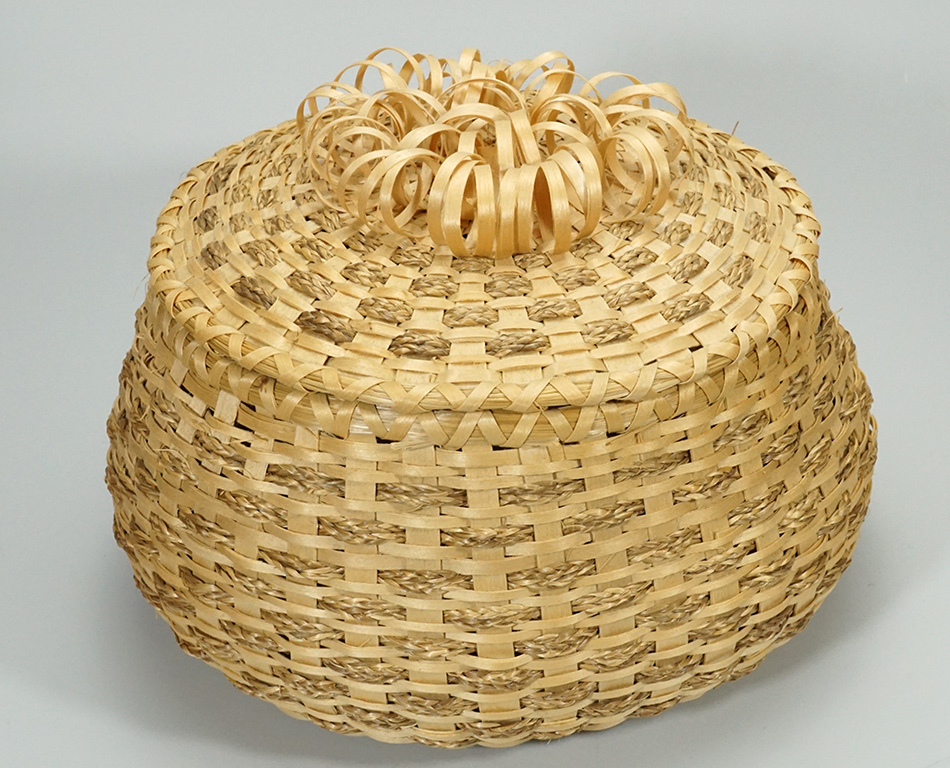 Claire Brooks Passamaquoddy Basket Braided Sweetgrass.