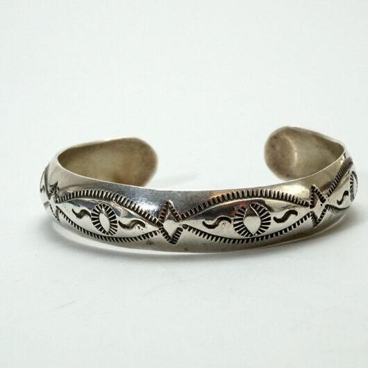 Vintage Native American Jewelry Stamped Sterling Silver Navajo Braelet