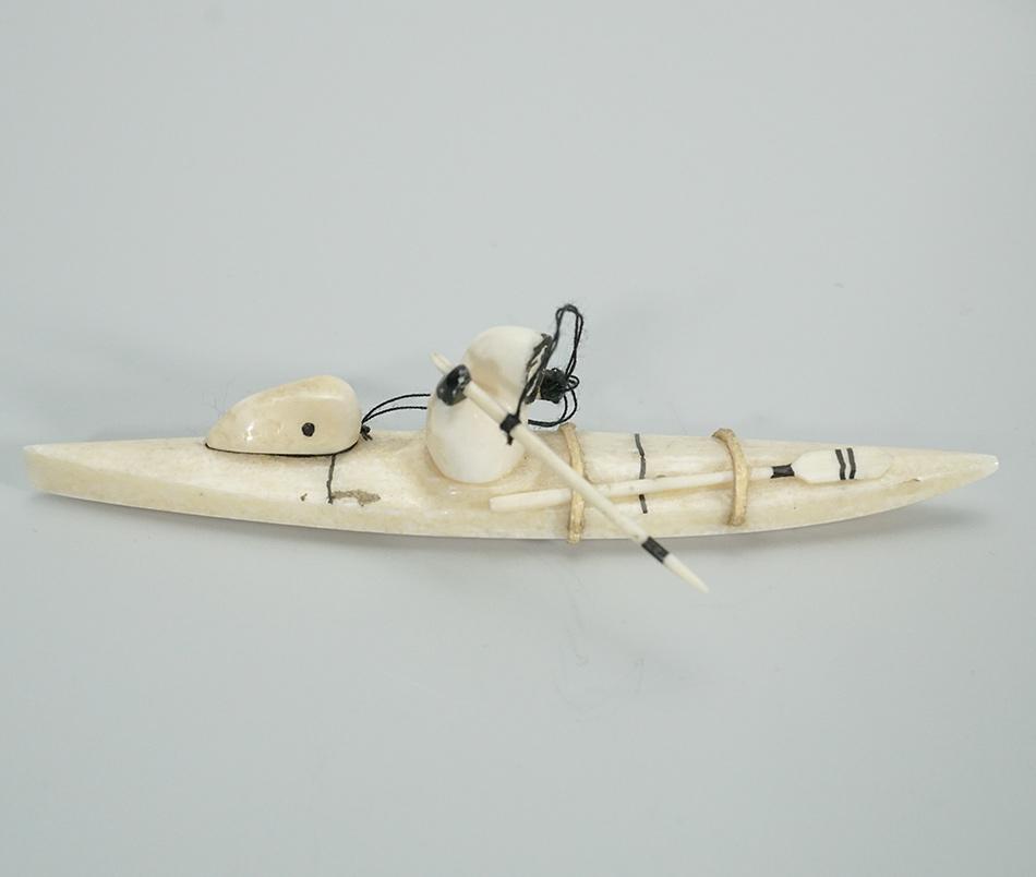 Eskimo Ivory Carving Kayak Hunter