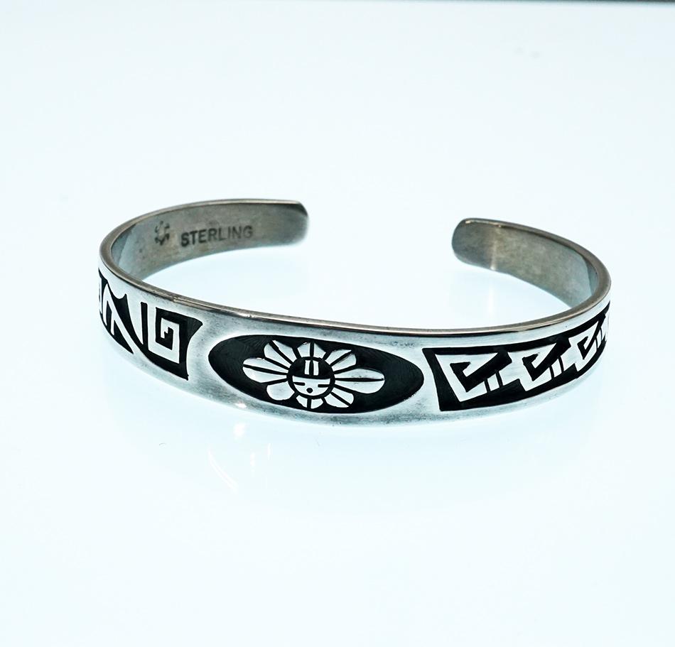 Native American Jewelry Hopi Overlay Sunface Bracelet