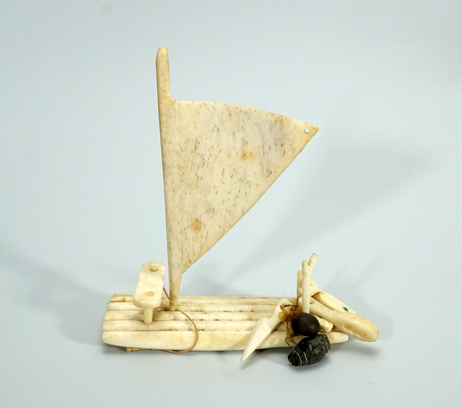 Vintage Eskimo Walrus Tusk Bone and Stone Sail Boat