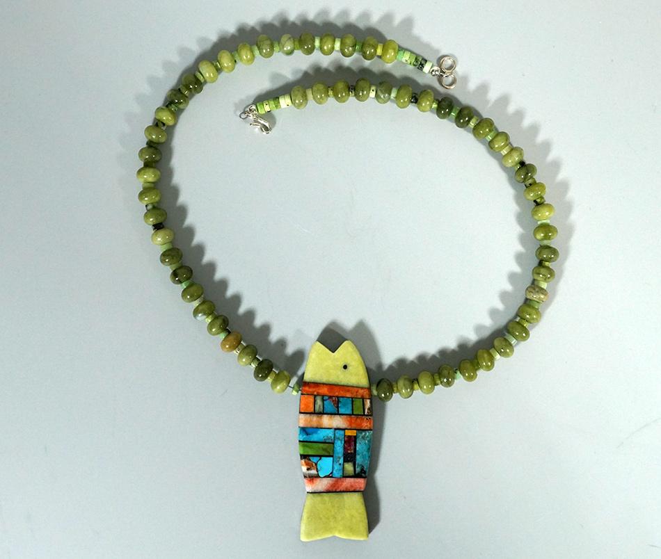 Mary Louise Tafoya Santo Domingo Artist Beaded Fish Necklace Native American Jewelry