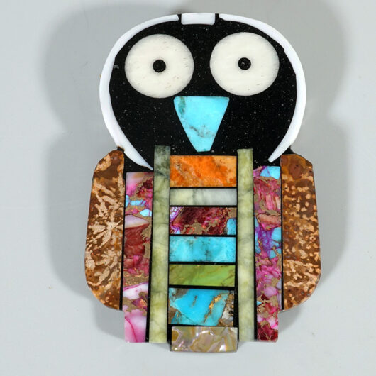 Kewa Santo Domingo Jewelry Mosaic Owl Pin Pendant by Mary Tafoya