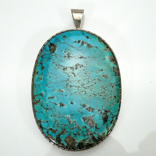 Vintage Native American Jewelry Pendant with Large Turquoise Cabochon