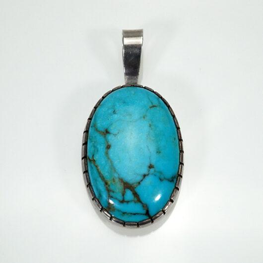 Vintage Native American Jewelry Turquoise Pendant with Hallmark