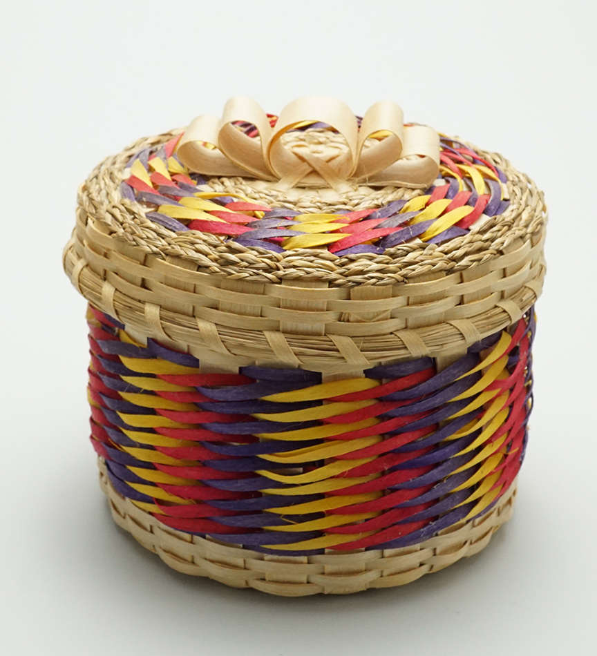 Passamaquoddy Clara Keezer 4 inch multi-color basket Native American Art