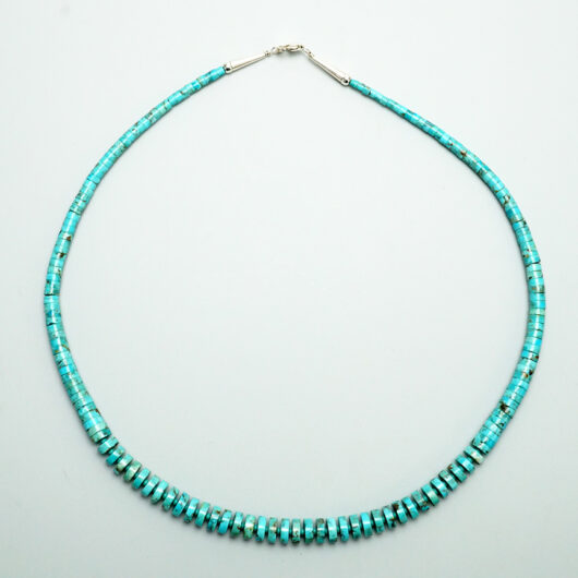 Native American Pueblo Jewelry Graduated Turquoise Disc Necklace