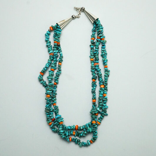 Three Strand Turquoise Shell Nugget Necklace Native American Jewelry