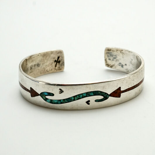 Navajo Artist Gibson Gene 1970s Chip Inlay Sterling Silver Bracelet