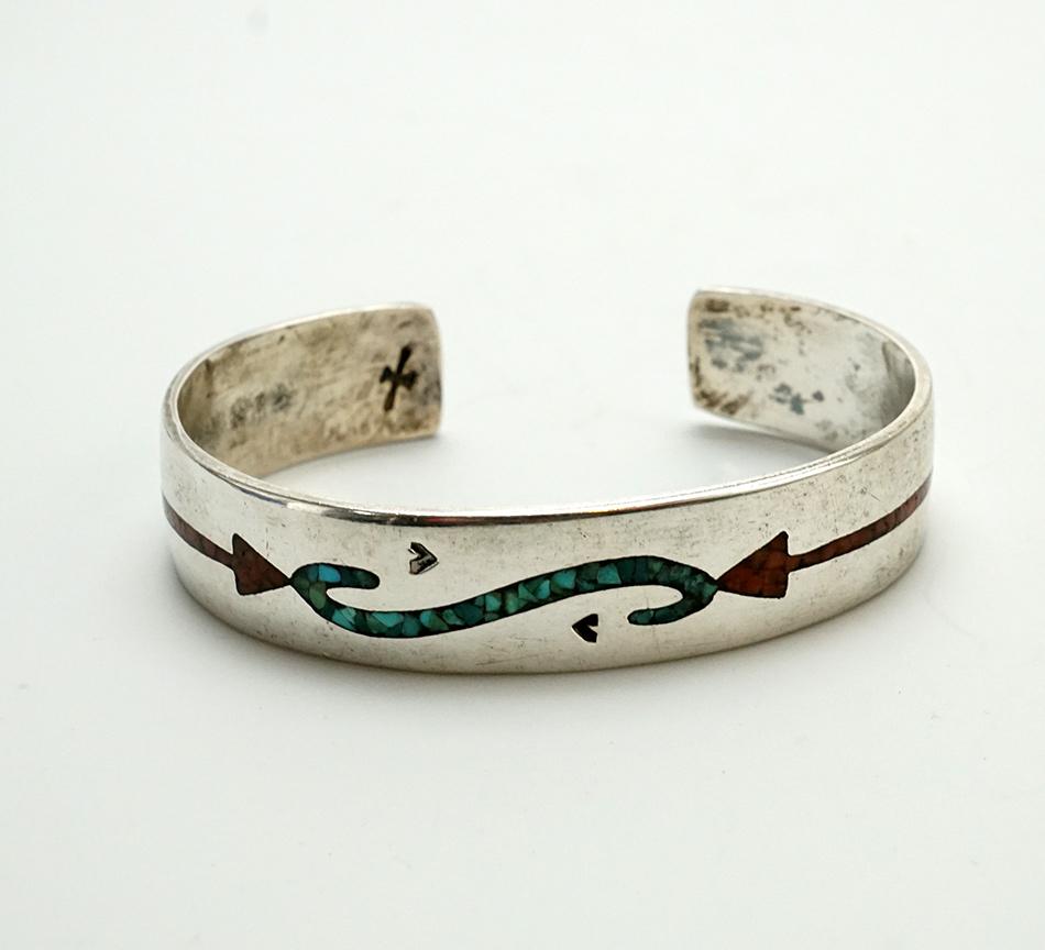 Navajo Artist Gibson Gene 1970s Chip Inlay Sterling Silver Bracelet