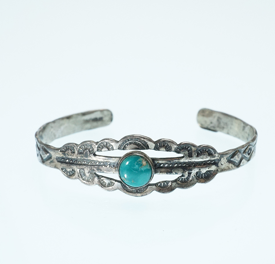 Vintage Sterling Silver Navajo Jewelry Baby Bracelet with Turquoise