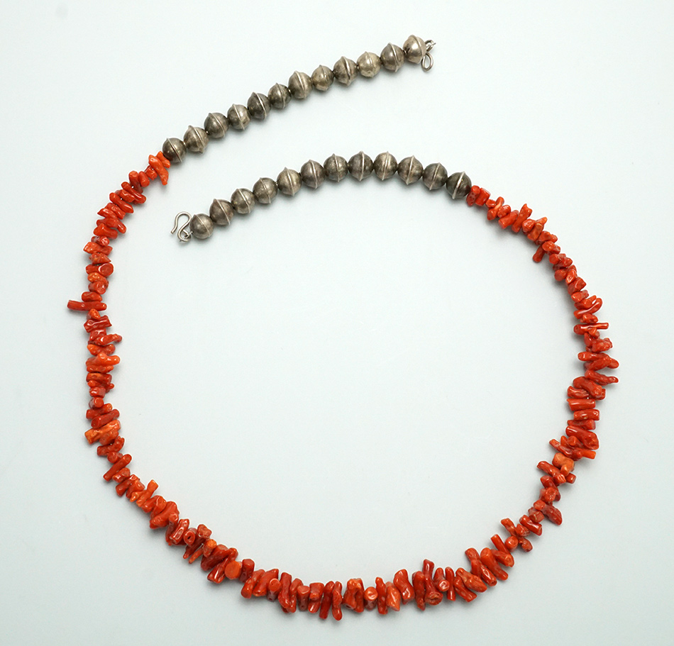 Vintage Coral Necklace with Silver Beads