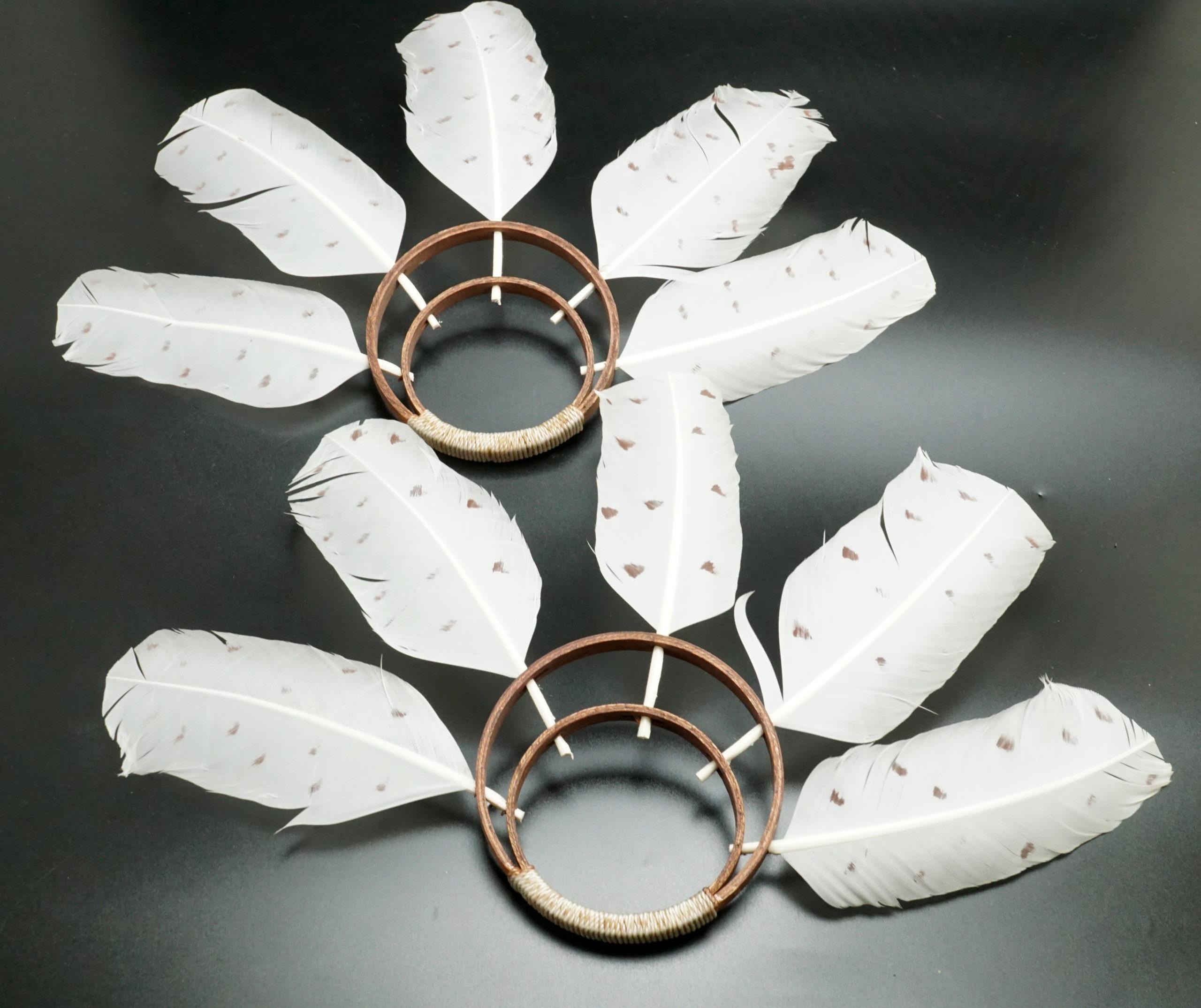 Eskimo Art Wood and Feather Yup'ik Dance Fans