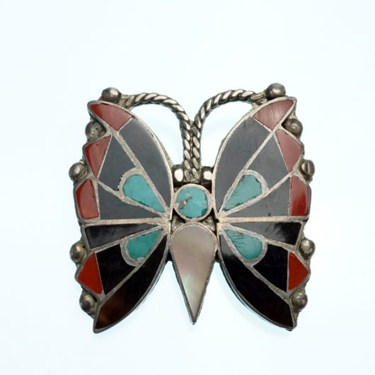 Vintage Zuni Native American Jewelry 1930s Inlaid Butterfly Pin