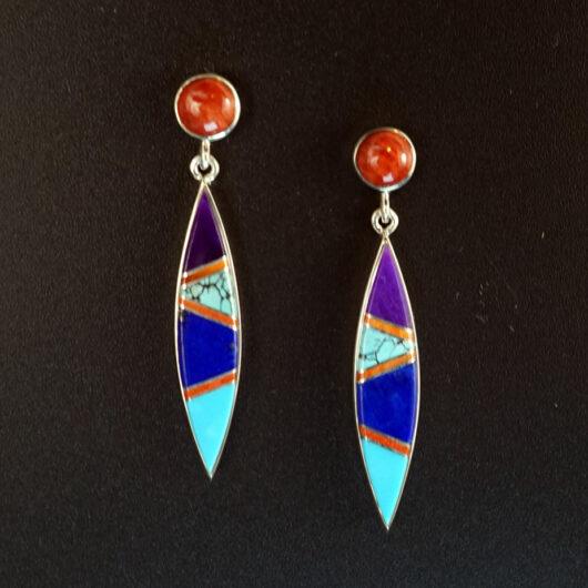 Earl Plummer Coral Turquoise Sugilite Lapis Lazuli Earrings Native American Art