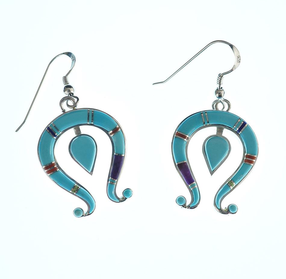 Navajo Jewelry Mosaic Naja Earrings by Earl Plummer