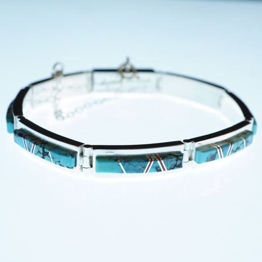 Earl Plummer Sterling Silver Natural Turquoise Navajo Bracelet