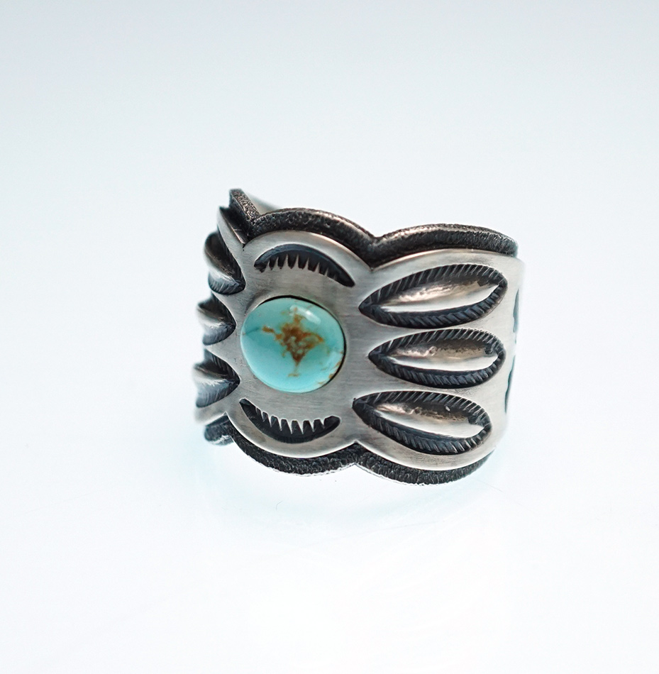 Jacob D. Morgan Sterling Silver Ring with Candelaria Turquoise Navajo Jewelry