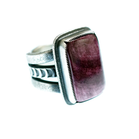 Jacob D. Morgan Sterling Silver Ring with Purple Spiny Oyster Shell Cabochon Navajo Artist