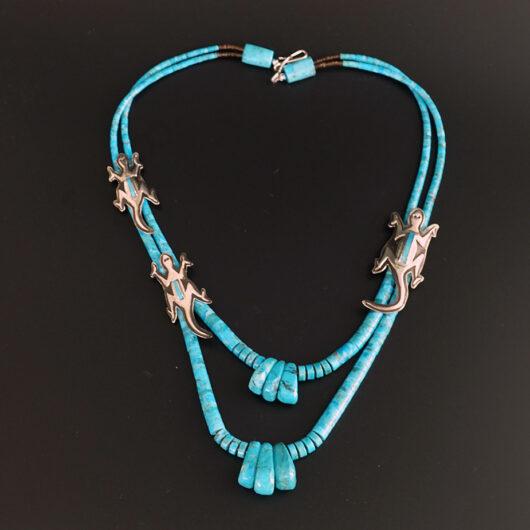 Santo Domingo Jewelry Collaborative Lorenzo-Mary Tafoya Turquoise Lizard Necklace