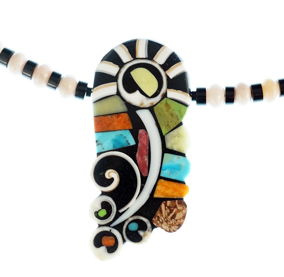 Mary Tafoya Mosaic Flower Necklace Native American Jewelry