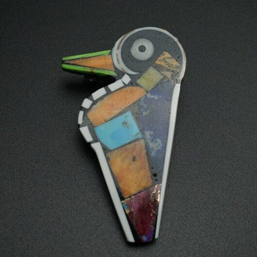 Native American Jewelry Mosaic Hummingbird Pin Pendant by Mary Tafoya