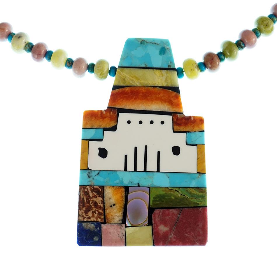 Santo Domingo Jewelry Artist Mary Tafoya Mosaic Pueblo Necklace