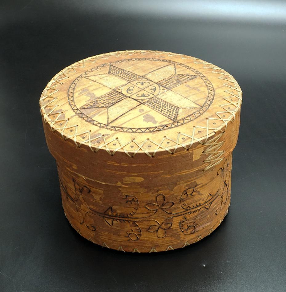 Penobscot Richard Love Etched Birch Bark Basket