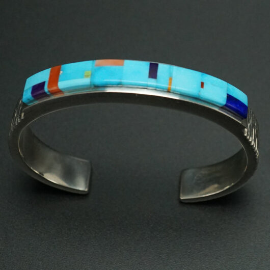 Native American Jewelry Earl Plummer Mosaic Inlay Turquoise Cuff Bracelet