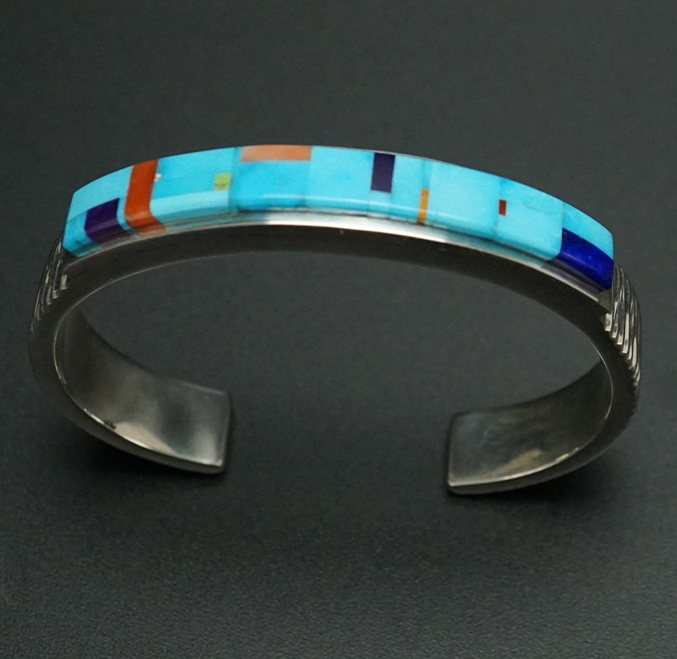 Native American Jewelry Earl Plummer Mosaic Inlay Turquoise Cuff Bracelet