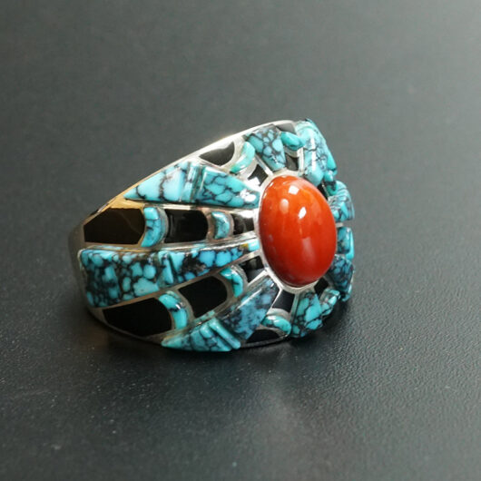 Navajo Jewelry Earl Plummer Turquoise Spider Inlay Ring
