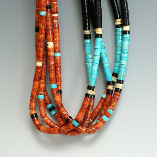 Kewa Pueblo Deanna Tenorio Five Strand Heishi Necklace