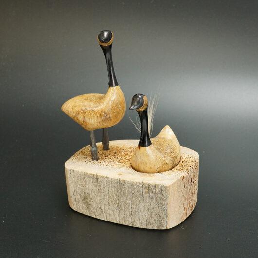 Aningayou Eskimo Carved Goose Couple on Nest