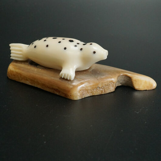 Charles Edwards Yupik Eskimo Carved Walrus Ivory Spotted Seal