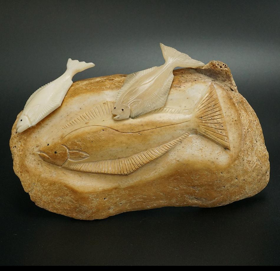 Dennis Pungowiyi Eskimo Carved Halibut